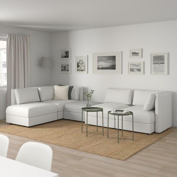 VALLENTUNA Modular corner sofa, 4 seat, with storage/Murum/Orrsta white/light grey
