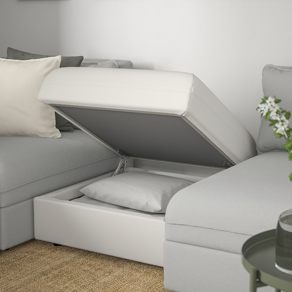 VALLENTUNA Modular corner sofa, 4 seat, with storage/Orrsta/Murum light grey/white