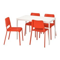 VANGSTA /  TEODORES table and 4 chairs, white, bright orange