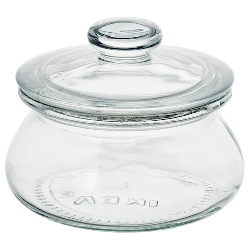 VARDAGEN jar with lid clear glass 9 cm 11 cm 0.3 l