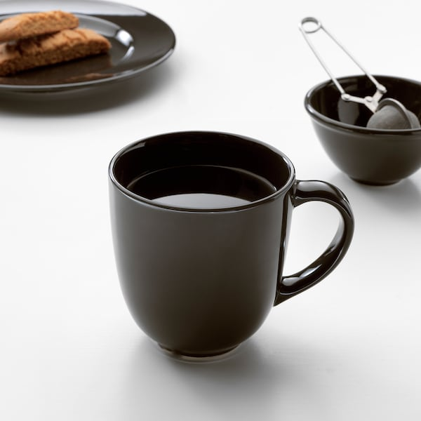 VARDAGEN Mug, dark grey, 30 cl