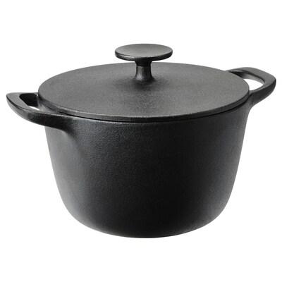VARDAGEN Pot with lid, cast iron, 3 l