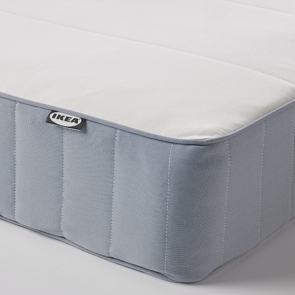 VESTMARKA Sprung mattress, extra firm/light blue, 150x200 cm