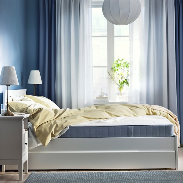 VESTMARKA Sprung mattress, firm/light blue, 90x200 cm