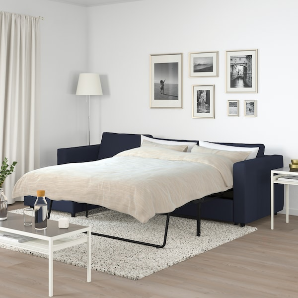 VIMLE 3-seat sofa-bed, with chaise longue/Orrsta black-blue