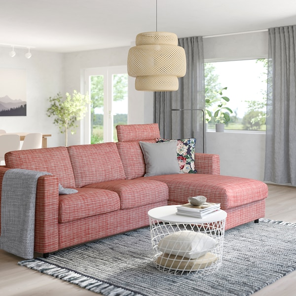 VIMLE 3-seat sofa, with chaise longue with headrest/Dalstorp multicolour