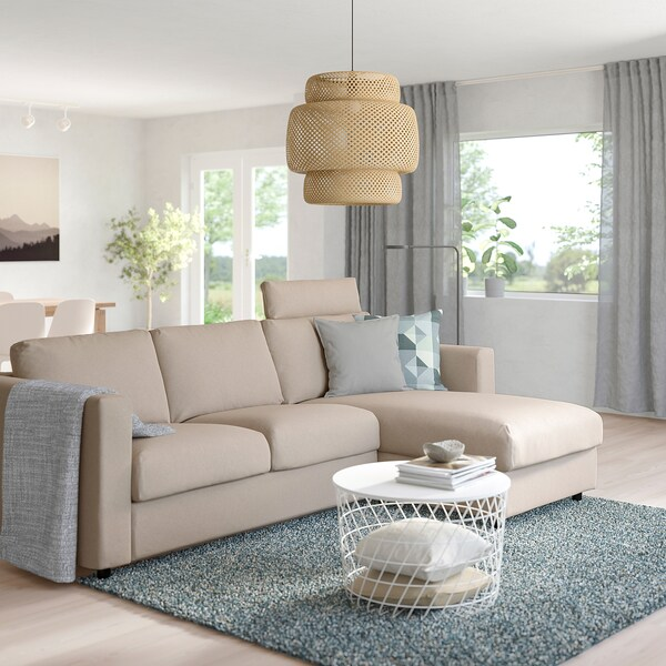 VIMLE 3-seat sofa, with chaise longue with headrest/Tallmyra beige