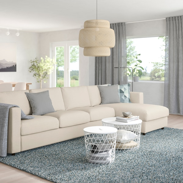 VIMLE 4-seat sofa, with chaise longue/Gunnared beige