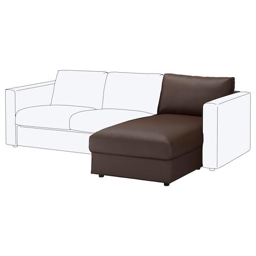 VIMLE chaise longue section Farsta dark brown 66 cm 81 cm 164 cm 80 cm 4 cm 81 cm 125 cm 45 cm 190 l