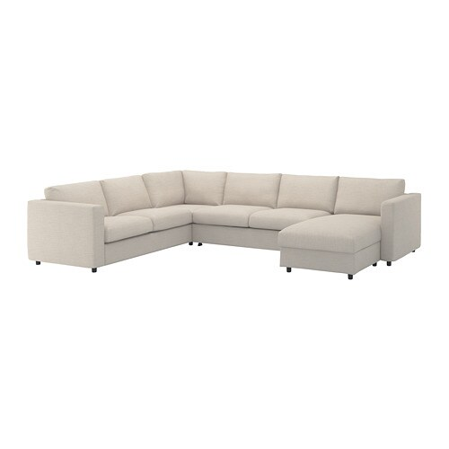 Fabulous Vimle Corner Sofa Bed 5 Seat With Chaise Longue Gunnared Beige Caraccident5 Cool Chair Designs And Ideas Caraccident5Info