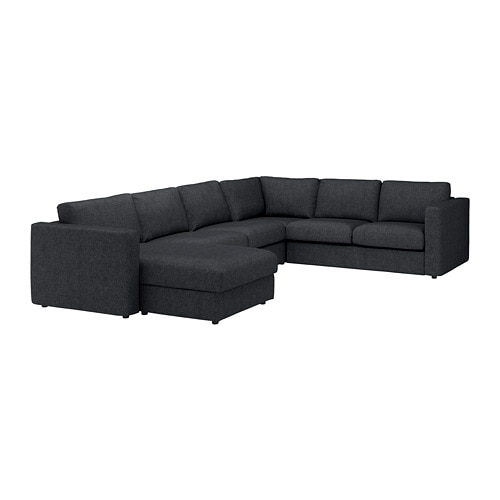 Pleasant Vimle Corner Sofa 5 Seat With Chaise Longue Tallmyra Black Grey Cjindustries Chair Design For Home Cjindustriesco