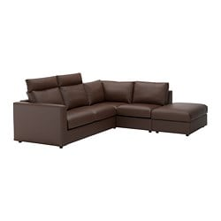 VIMLE corner sofa, 4-seat, with open end with headrests, Farsta dark brown