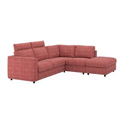 VIMLE corner sofa, 4-seat, with open end with headrests, Dalstorp multicolour