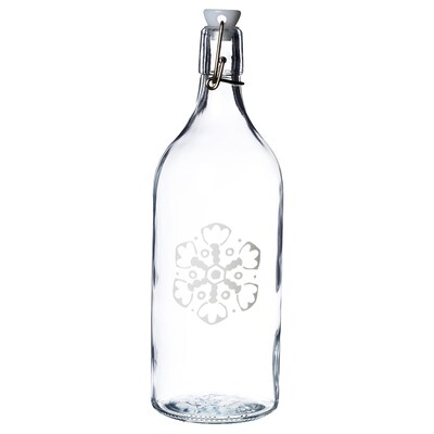 VINTER 2020 Bottle with stopper, clear glass/snowflake pattern white, 1 l