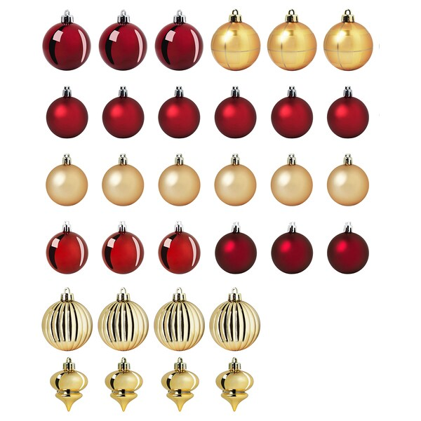 VINTER 2020 Decoration bauble, set of 32, red/gold-colour