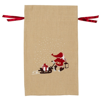 VINTER 2020 Sack with string, Santa Claus pattern natural, 90x56 cm