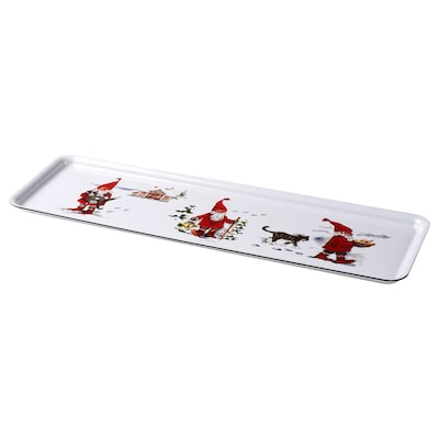 VINTER 2020 Tray, Santa Claus pattern white/red, 50x16 cm