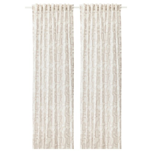 VINTERJASMIN curtains, 1 pair white/beige 250 cm 145 cm 0.89 kg 3.63 m² 2 pieces