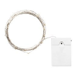 VISSVASS LED lighting chain with 80 lights, indoor, battery-operated silver-colour