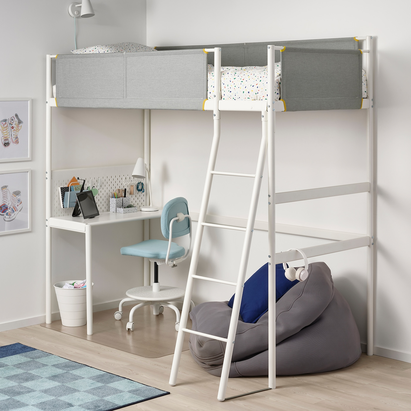 Vitval Loft Bed Frame With Desk Top White Light Grey Ikea