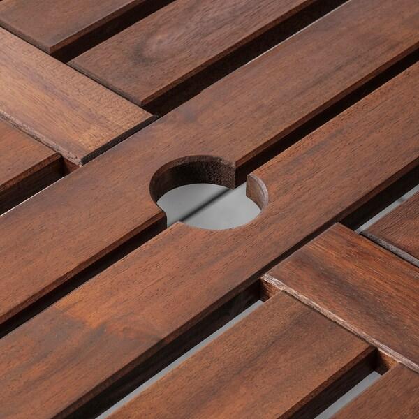 ÄPPLARÖ 에플라뢰 야외테이블+팔걸이의자6+벤치, 브라운스테인/쿠다르나 그레이