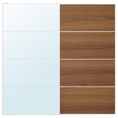 AULI 아울리 / MEHAMN 메함 미닫이도어 한쌍, 거울유리/브라운스테인 물푸레무늬, 200x201 cm