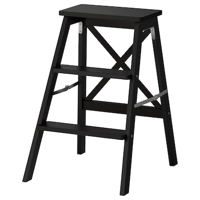 BEKVÄM 베크벰 3단사다리, 블랙, 63 cm