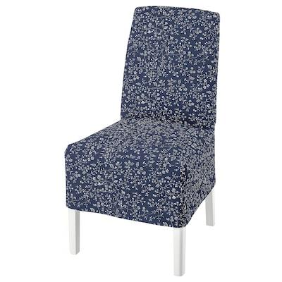 BERGMUND 베리문드 의자+중간길이커버, 화이트/뤼라네 다크블루