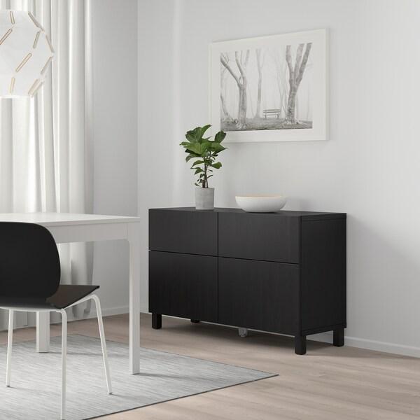 BESTÅ 베스토 수납콤비네이션+도어/서랍, 라프비켄 블랙브라운, 120x40x74 cm