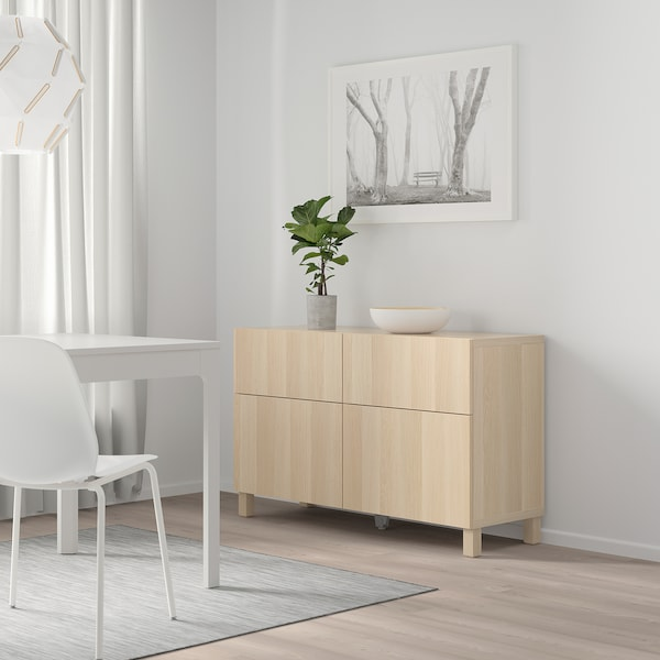 BESTÅ 베스토 수납콤비네이션+도어/서랍, 라프비켄 화이트스테인 참나무무늬, 120x40x74 cm