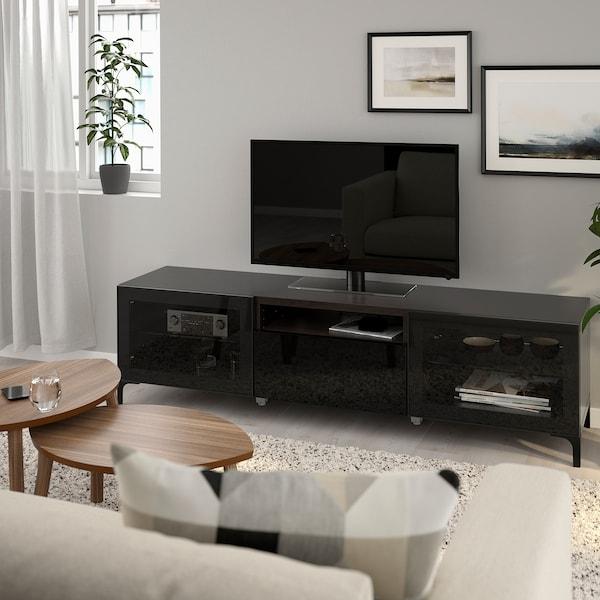 BESTÅ 베스토 TV장식장, 블랙브라운/셀스비켄 하이글로스/블랙투명유리, 180x42x48 cm