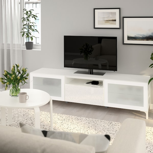 BESTÅ 베스토 TV장식장, 화이트/셀스비켄 하이글로스/화이트반투명유리, 180x42x48 cm