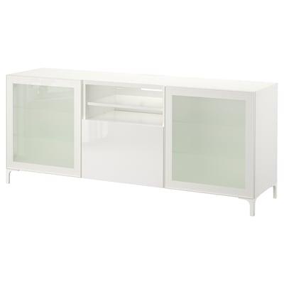 BESTÅ 베스토 TV장식장+서랍, 화이트/셀스비켄 하이글로스/화이트반투명유리, 180x40x74 cm