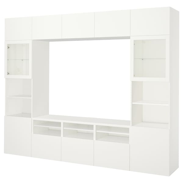 BESTÅ 베스토 TV수납콤비네이션/유리도어, 라프비켄/신드비크 화이트투명유리, 300x40x230 cm