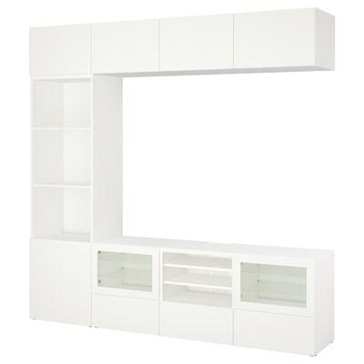 BESTÅ 베스토 TV수납콤비네이션/유리도어, 라프비켄/신드비크 화이트투명유리, 240x40x230 cm