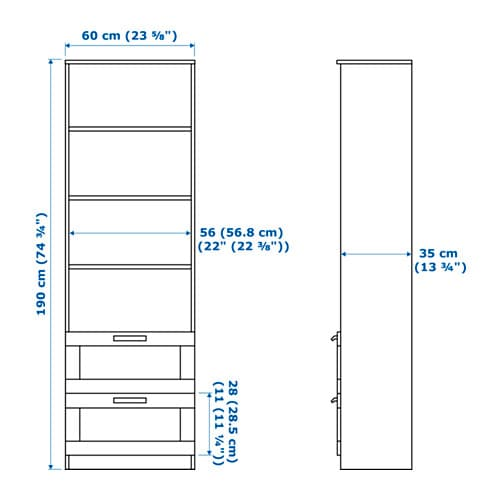BRIMNES 브림네스 책장 IKEA 선반의 높이와 간격을 조절하여 나에게 꼭 맞는 수납공간을 만들 수 있습니다.
