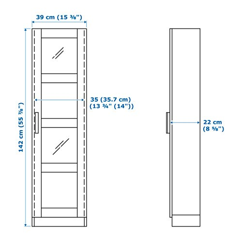 BRIMNES 브림네스 유리도어수납장 IKEA 유리도어수납장은 나만의 수집품과 유리제품을 멋지고 안전하게 수납할 수 있습니다. 선반의 높이와 간격을 조절하여 나에게 꼭 맞는 수납공간을 만들 수 있습니다.