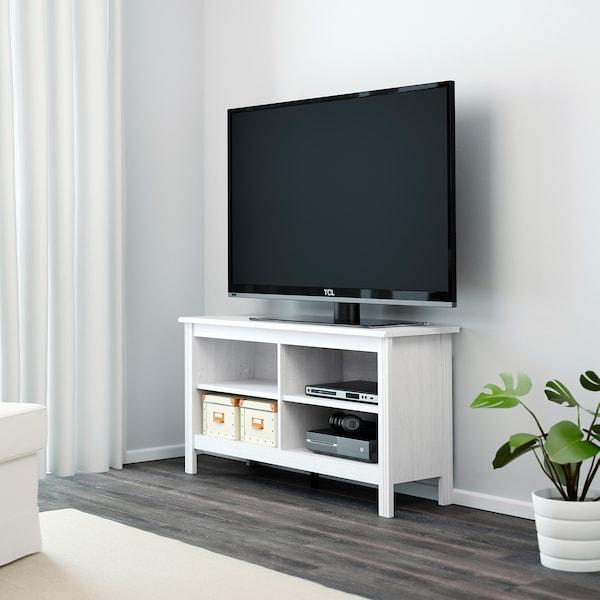 BRUSALI 브루살리 TV장식장, 화이트, 120x36x62 cm