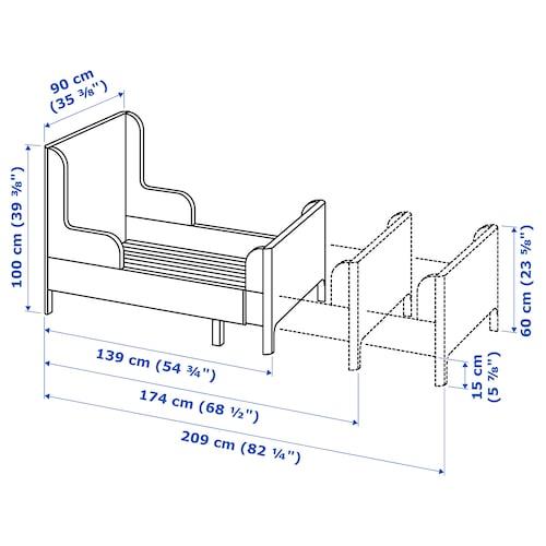 BUSUNGE 부숭에 길이조절침대, 라이트핑크, 80x200 cm
