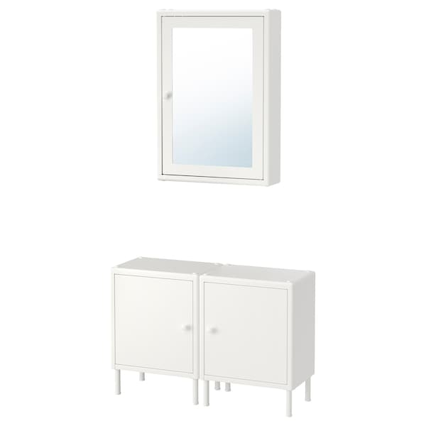DYNAN 뒤난 거울수납장+하부수납장2, 화이트, 80x27 cm