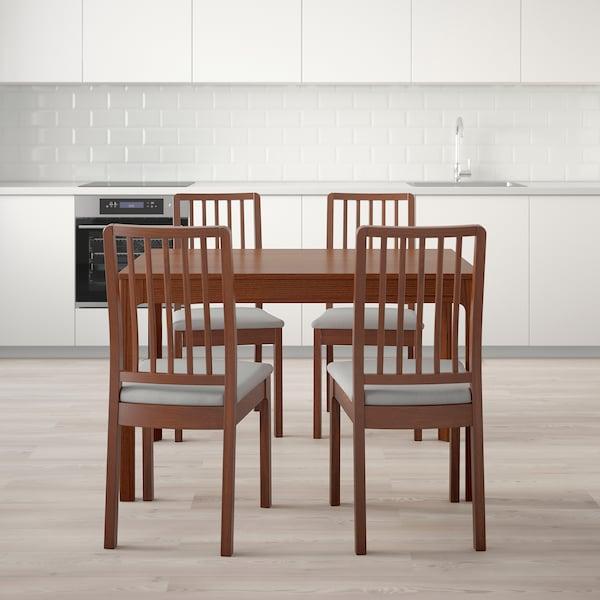 EKEDALEN 에케달렌 / EKEDALEN 에케달렌 테이블+의자4, 브라운/오르스타 라이트그레이, 120/180 cm