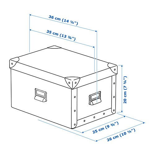 FJÄLLA 수납상자+뚜껑 IKEA 원하는 면을 택하여 수납함에 라벨홀더가 달린 손잡이를 부착할 수 있습니다. HEMNES/헴네스 수납 시리즈를 비롯하여 선반 깊이 25cm 이상인 가구/수납 가구에 잘 맞는 크기의 수납함입니다.