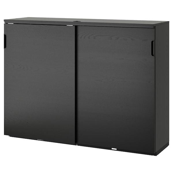 GALANT 갈란트 미닫이수납장, 블랙스테인 물푸레무늬목, 160x120 cm