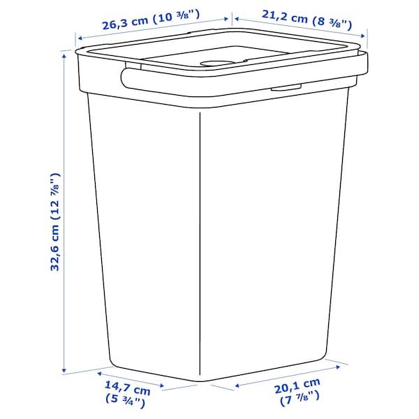HÅLLBAR 홀바르 통+뚜껑, 라이트그레이, 10 l