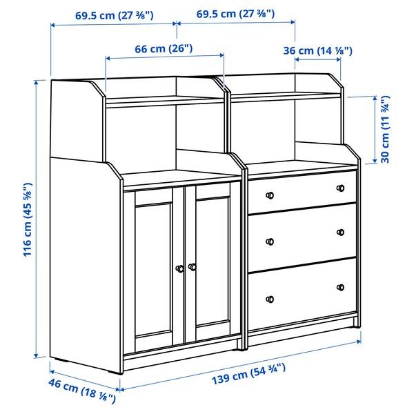 HAUGA 하우가 수납콤비네이션, 화이트, 139x46x116 cm