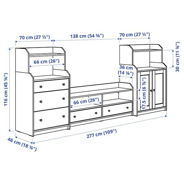 HAUGA 하우가 TV/수납콤비네이션, 화이트, 277x46x116 cm