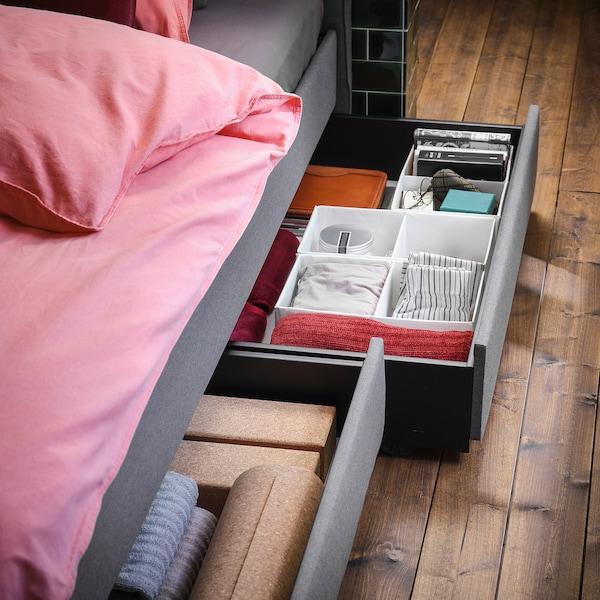HAUGA 하우가 침대+수납상자4, 비슬레 그레이, 150x200 cm