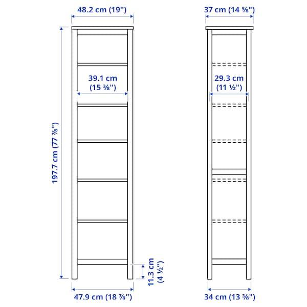 HEMNES 헴네스 책장, 화이트 스테인, 49x198 cm