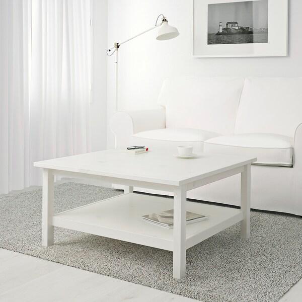 HEMNES 헴네스 커피테이블, 화이트 스테인, 90x90 cm