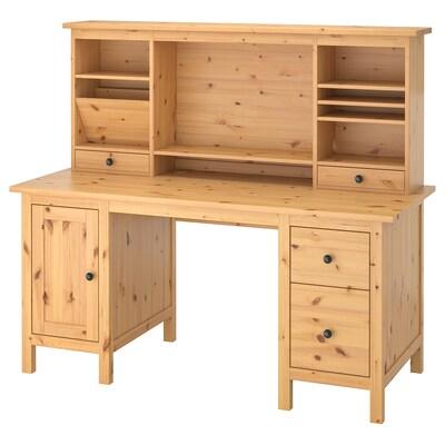 HEMNES 헴네스 책상+추가유닛, 라이트브라운, 155x137 cm